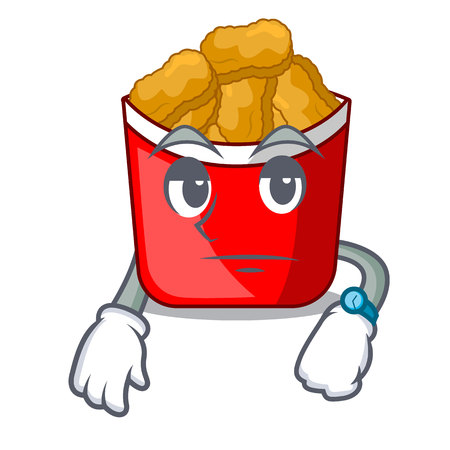 Waiting chicken nuggets in a mascot bowl vector illustration