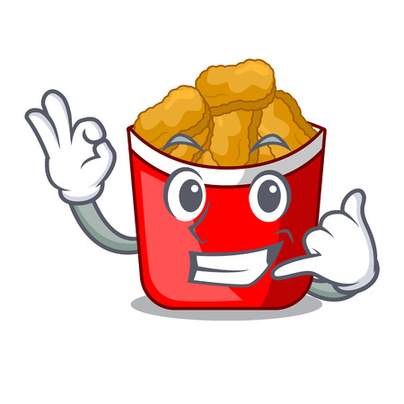 Call me chicken nuggets in a mascot bowl vector illustration