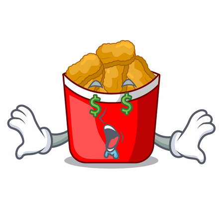 Money eye chicken nuggets in a mascot bowl vector illustration Ilustracja