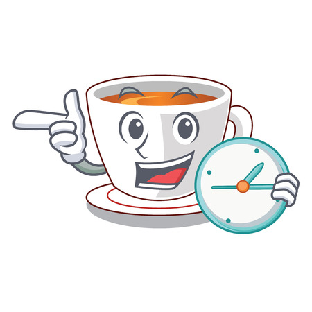 With clock cup mint tea the shape mascot vector illustration
