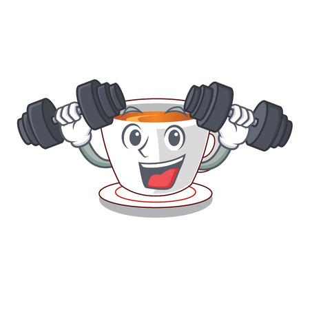 Fitness mint tea above wooden cartoon table vector ilustartion