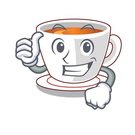 Thumbs up cup mint tea the shape mascot vector illustration