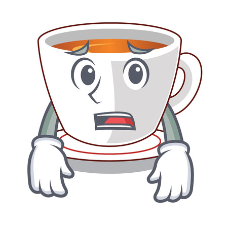 Afraid cup mint tea isolated with character vector illustration