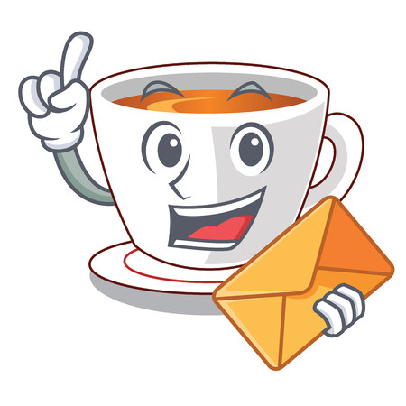 With envelope cup mint tea the shape mascot vector illustration
