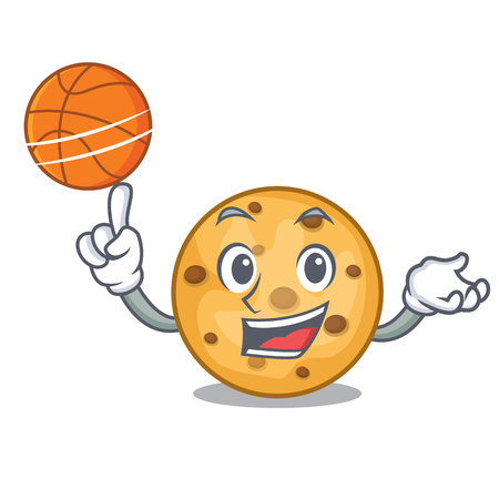With basketball oat cookies above wooden character boards vector illustration