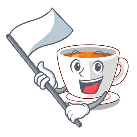 With flag mint tea in a cartoon cup vector illustration Imagens - 124708950
