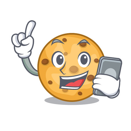 With phone oat cookies above wooden character boards vector illustration