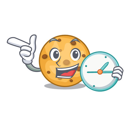 With clock oat cookies above the mascot plate vector illustration Stock Vector - 124708972