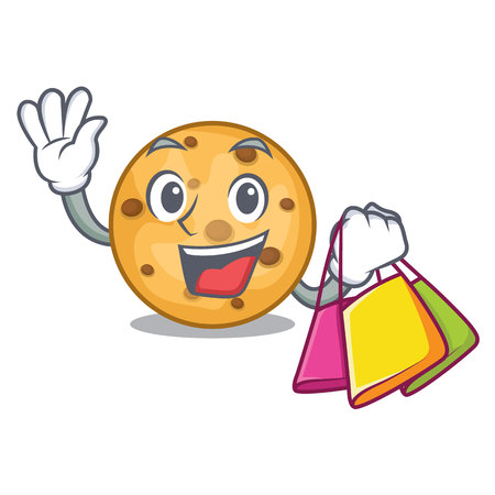 Shopping oat cookies above the mascot plate vector illustration