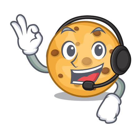 With headphone oat cookie isolated with the cartoon vector illustration Illustration