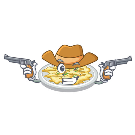 Cowboy scrambled egg put above cartoon plate Stock Illustratie