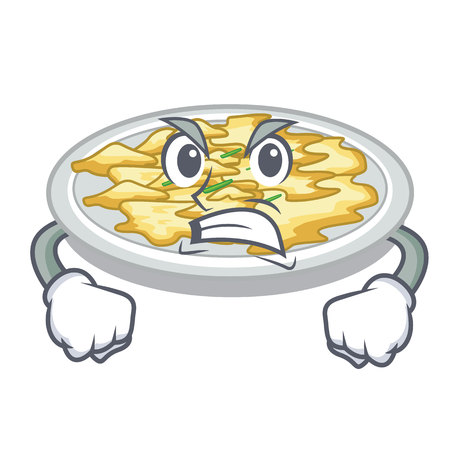Angry scrambled egg in the mascot bowl vector illustration