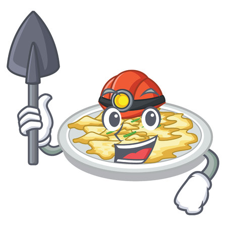 Miner scrambled egg in the mascot bowl vector illustration