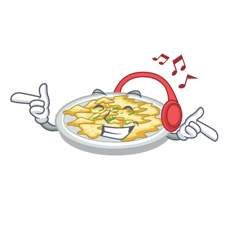 Listening music scrambled egg in the mascot bowl vector illustration