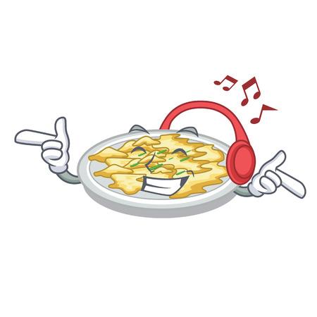 Listening music scrambled egg in the mascot bowl vector illustration
