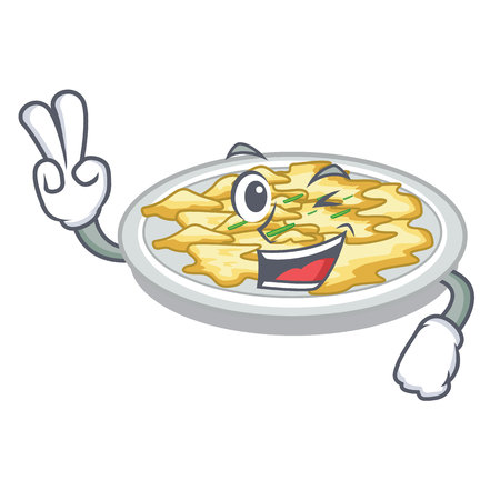 Two finger scrambled egg in the character pan vector illustration
