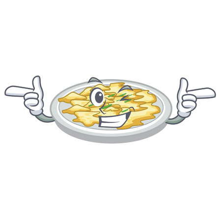Wink scrambled egg in the character pan vector illustration