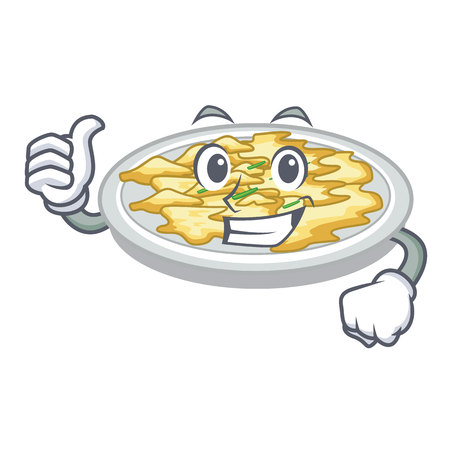 Thumbs up scrambled egg in the character pan vector illustration