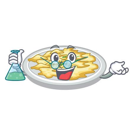 Professor scrambled egg in the character pan vector illustration