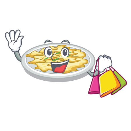 Shopping scrambled egg in the character pan vector illustration