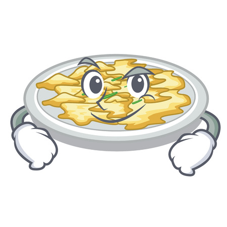 Smirking scrambled egg in the character pan vector illustration