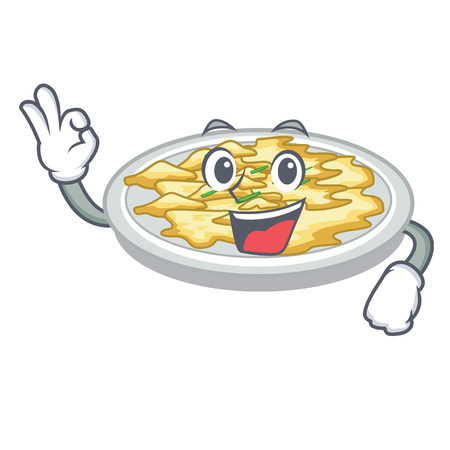 Okay scrambled egg in the character pan vector illustration  イラスト・ベクター素材