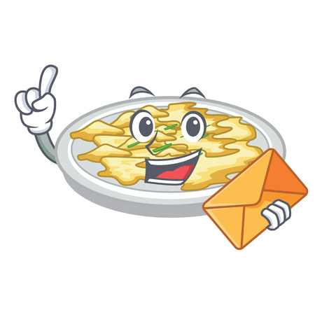 With envelope scrambled egg in the character pan vector illustration