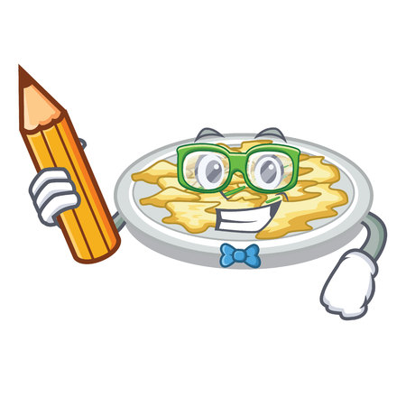 Student scrambled egg in the character pan vector illustration