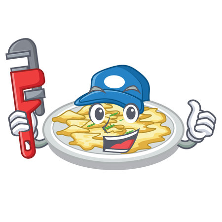 Plumber scrambled egg isolated with in cartoon vector illustration