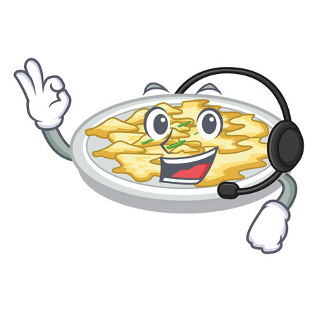 With headphone scrambled egg isolated with in cartoon vector illustration