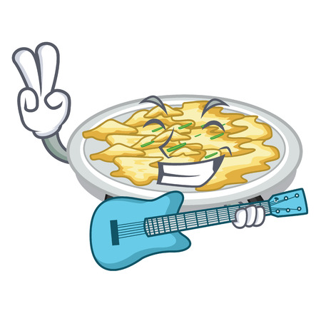 With guitar scrambled egg in the mascot bowl vector illustration