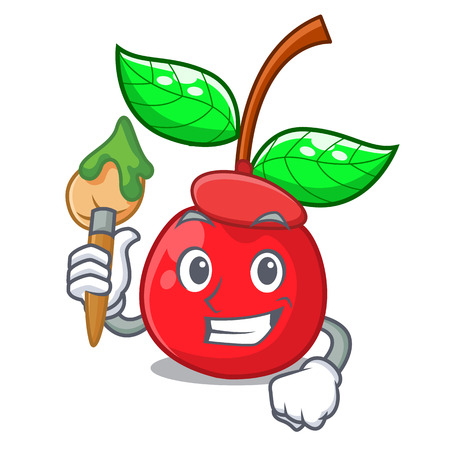 Artist cherry fruit in a mascot basket vector illustration