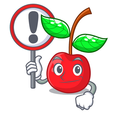With sign cherry fruit in a mascot basket vector illustration