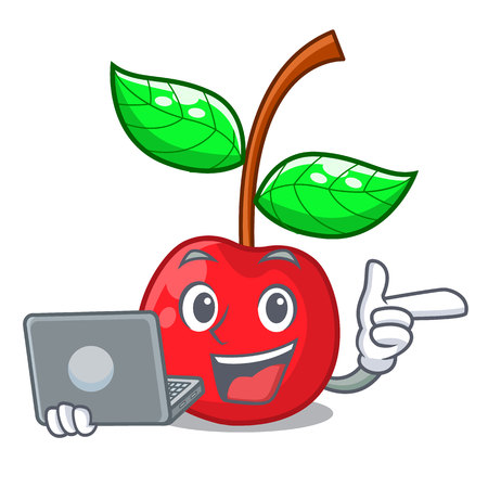 With laptop cherry fruit in a mascot basket vector illustration