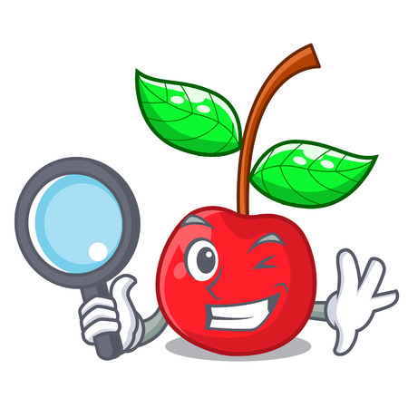 Detective fruit cherry above wooden character table Illustration