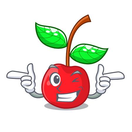 Wink fruit cherry above wooden character table vector illustration Ilustração