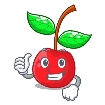 Thumbs up fruit cherry above wooden character table vector illustration