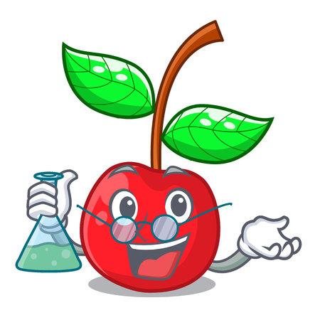 Professor fruit cherry above wooden character table vector illustration