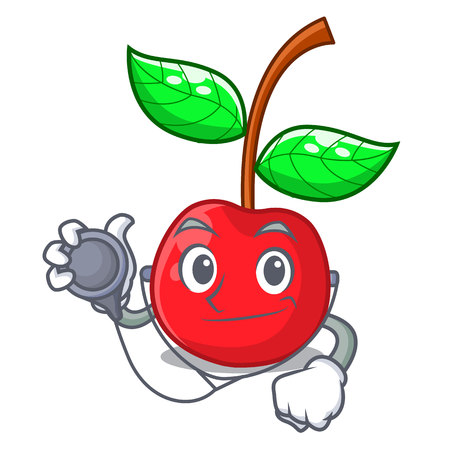 Doctor cherry fruit in a mascot basket vector illustration Çizim