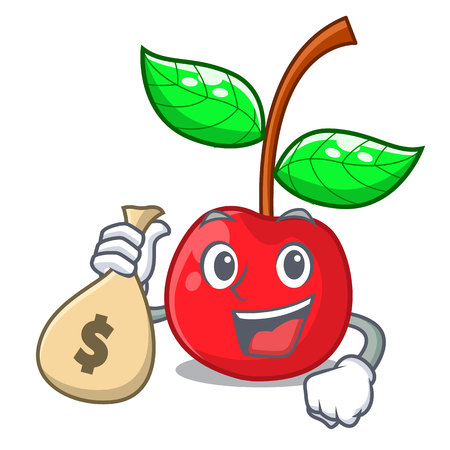 With money bag cherry fruit in a mascot basket vector illustration