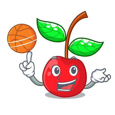 With basketball cherry fruit in a mascot basket vector illustration Çizim