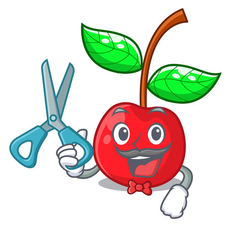 Barber cherry fruit in a mascot basket vector illustration Çizim