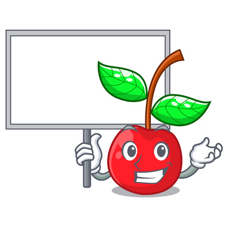 Bring board cherry fruit in a mascot basket vector illustration Çizim