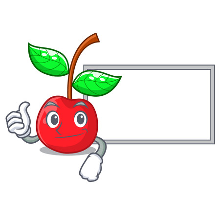 Thumbs up with board cherry fruit in a mascot basket vector illustration Çizim