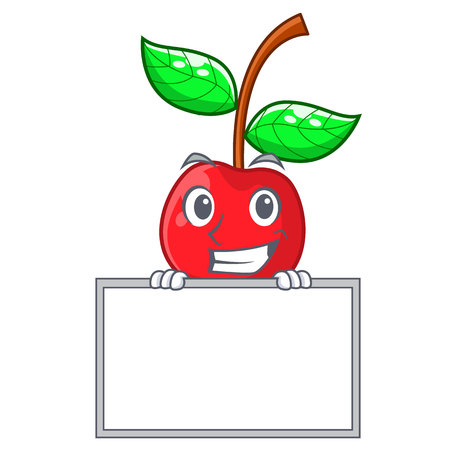 Grinning with board cherry fruit in a mascot basket vector illustration