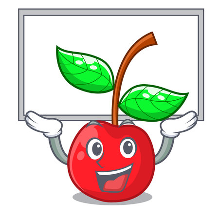 Up board cherry fruit in a mascot basket vector illustration