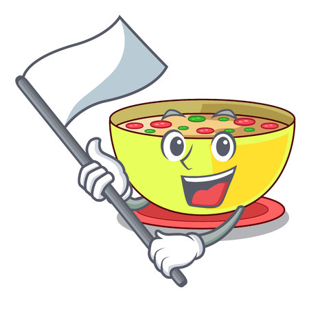 With flag corn chowder in a cartoon plate vector illustration Imagens - 124679628
