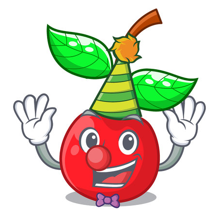 Clown cherries fruit isolated with the cartoon vector illustration