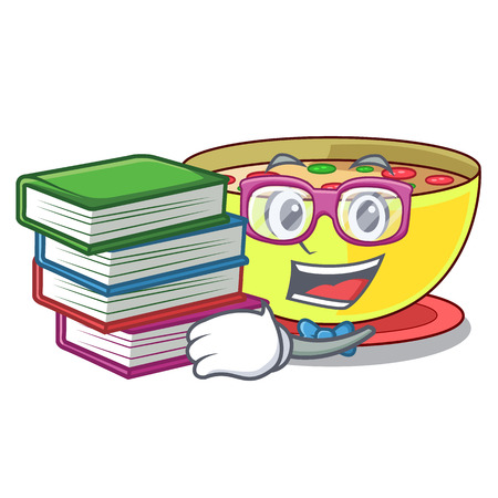 Student with book corn chowder in a cartoon plate vector illustration