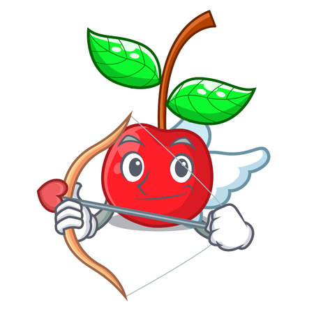 Cupid cherry fruit in a mascot basket vector illustration Çizim